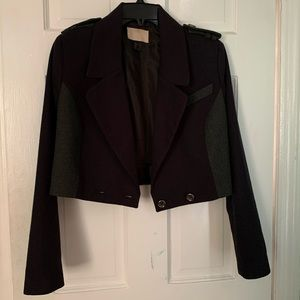 Navy and Grey Crop Double Breast Military Jacket